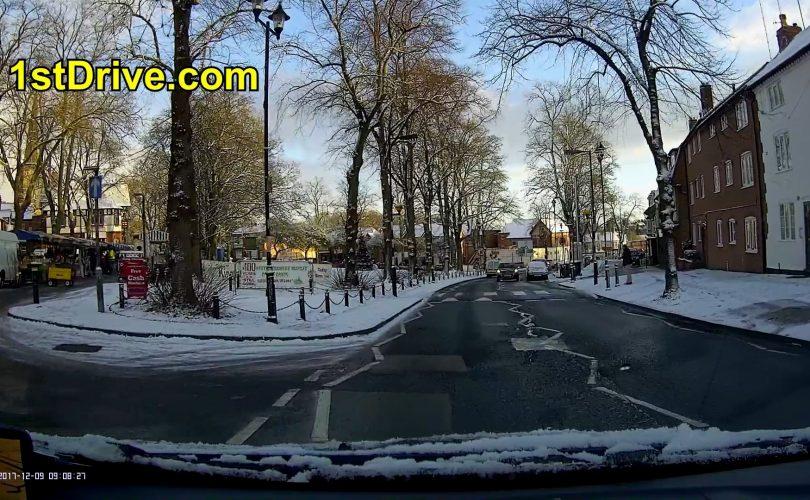 Driving in car at Christmas