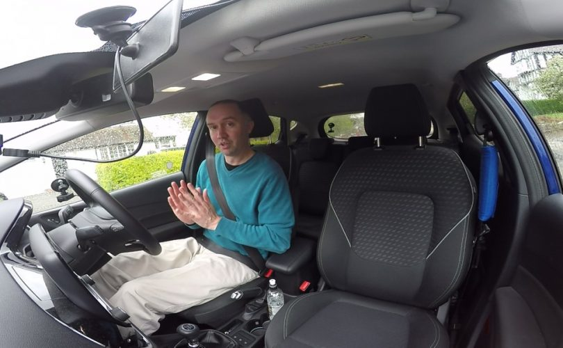 Paul in driving school car