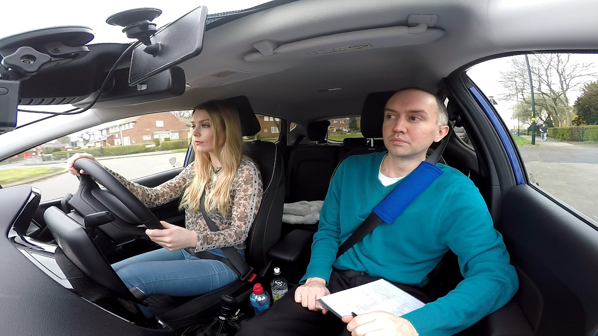Learner taking driving test