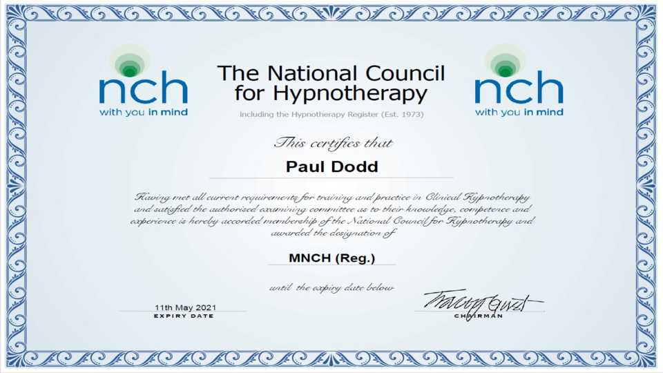 Hypnosis certificate
